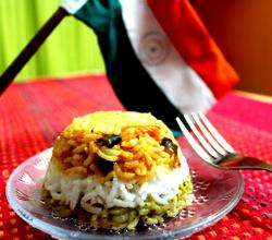 Indian Tricolour Rice Coriander Coconut And Tomato Layered Rice