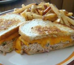 tuna melt sandwich with French fries