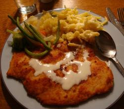 Turkey Schnitzel with Spatzle and vegetables