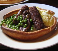 Veggies Sausages and Mash, with Yorkshire Pudding