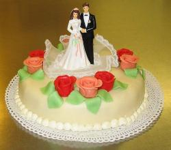 Wedding cake with marzipan