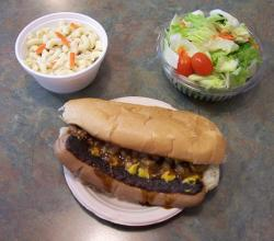 white hot dog with macaroni salad
