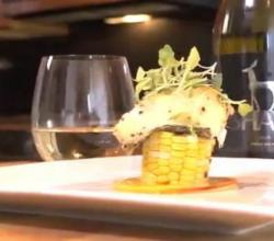 Plank Roasted Sea Bass with Grilled Corn and Shaya Verdejo
