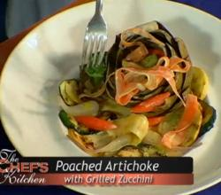 Poached Artichoke with Grilled Zucchini and Saffron Sauce