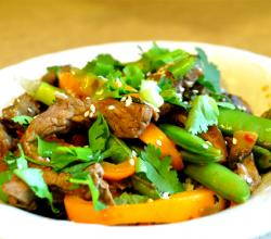 Stir Fried Pork With Oranges And Snow Peas
