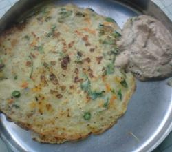 Rava Dosa and Peanut Chutney