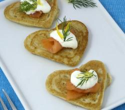 Heart-Shaped Blini with Smoked Salmon and Lemon Caper Sour Cream