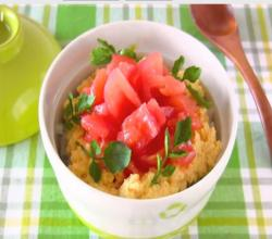 Creamy Scrambled Eggs and Tomato Rice Bowl