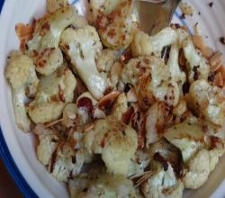 Roasted Cauliflower with Garlic and Almonds - Vegan