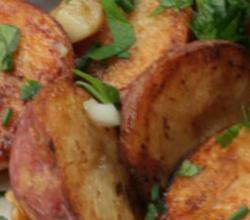 Roasted New Potatoes with Maple Bacon Dressing and a Maple Basil Vinaigrette
