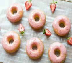The Best Baked Doughnuts with Fresh Strawberry Glaze