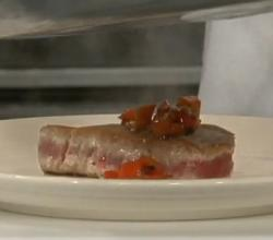 Tuna Steak with Fresh Roasted Red Pepper Sauce.