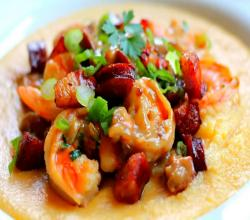 Shrimp and Pancetta Over Soft Polenta