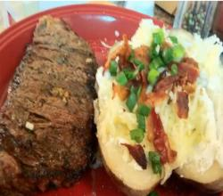 Down & Dirty Steaks With Loaded Baked Potatoes