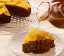 Spiced Persimmon Cake with Caramel Sauce