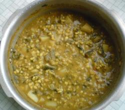 Moong Ki Hari Dal with Brinjal curry