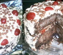 Low-Fat High-Fiber Low-Sodium Eggless Butterless Stress-Buster Black Forest Cake for Those with a Weak Stomach