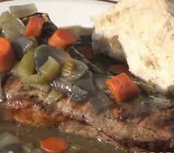 Barbecued Strip Steaks with Vegetable Whiskey Gravy