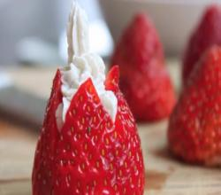 Strawberries Stuffed with Lavender-Honey Cream Cheese