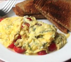 Summer Scrambled Eggs with Cherry Tomato, Basil and Feta