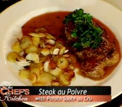 Steak Au Poivre with Potato Saute Au Cru