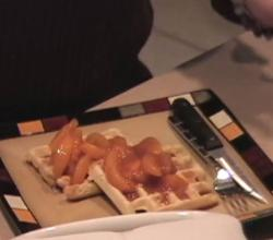 The Homegrown Gourmet Presents Vegan Waffles With Spiced Peaches