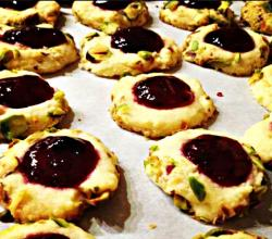 Making Pistachio & Blackcurrant Jam Thumbprint Cookies