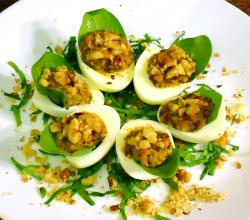 Tomato, Basil, Cheese and Walnut Pesto Deviled Eggs