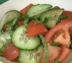 Tomato, Cucumber and Basil Salad with Balsamic Vinegar