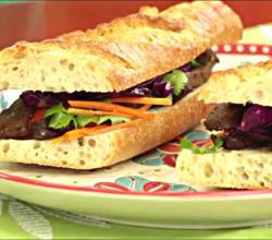 Vietnamese Sandwich with Marinaded Beef & Red Cabbage Cole Slaw