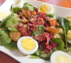 Warm Spinach Salad with Bacon and Eggs