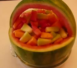 Summer Fresh Watermelon Basket Loaded with Melon Salad