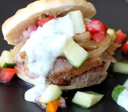 Yogurt Marinated Lamb with Tomato Cucumber Relish Pita Sandwiches