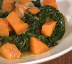 Yams and Collards with Chilli
