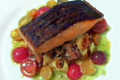 How To Make Seared Crisp Skin Wild Salmon On A Potato And Chanterelle Mushroom Hash With A Tomato Citronette