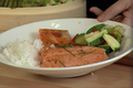 Salmon cooked in Thai Curry Sauce