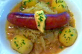 Apple Cider Braised Smoked Chicken Sausage Cabbage And Potato Stew