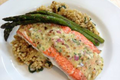 Copper River Salmon featuring Almond Tarragon Vinaigrette and Caramelized Couscous