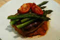 Ground Beef  with Asparagus and Sweet Potatoes