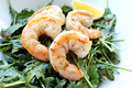 Pan Seared Lemon Garlic Shrimp With Caramelized Onion Balsamic Vinaigrette Dressed Baby Kale Salad