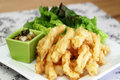 Korean Food: Deep Fried Squid with Lettuce Wrap