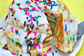 Birthday Cake Batter Pancakes with Buttercream Glaze