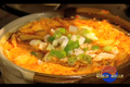 Oyster and Chive Pancake with Spicy Seafood Tofu Soup