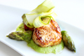 Seared Scallops with Shaved Asparagus and Pea Puree