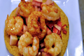 Shrimp Tostada with Peach and Strawberry Salsa