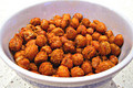 Spiced and Roasted Chickpeas with Carrot Chips and Mimosa Arcade