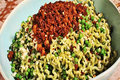 Spring Pasta with Peas and Tempeh Bacon Crumble