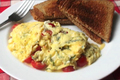 How To Make Summer Scrambled Eggs with Cherry Tomato, Basil and Feta