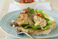 Gruyere Stuffed Turkey Burgers with Fresh Tomato Basil Relish