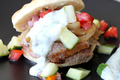 How To Make Yogurt Marinated Lamb with Tomato Cucumber Relish Pita Sandwiches